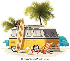 Vector realistic vintage surfer van on the beach icon -...