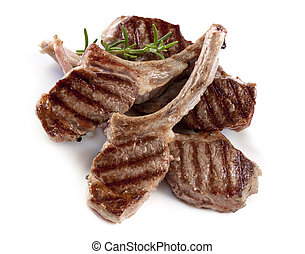 Lamb Cutlets - Grilled lamb cutlets with a sprig of...