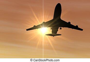 avião, pôr do sol, aterragem