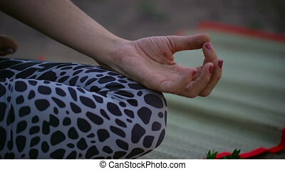 A beautiful young lady sitting on a green field in a lotus pose