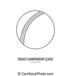 Cricket sport game logotype design concept - Cricket ball....