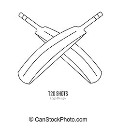 Cricket sport game logotype design concept - Cricket bats....