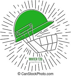 Cricket sport game logotype design concept - Cricket helmet...