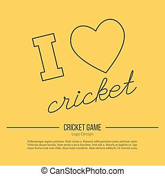 Cricket sport game logotype design concept - Heart, I love...