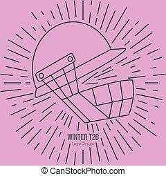 Cricket sport game logotype design concept - Cricket helmet...