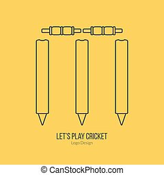 Cricket sport game logotype design concept - Cricket stamps...