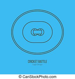 Cricket sport game logotype design concept - Cricket field....