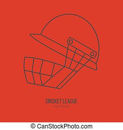 Cricket sport game logotype design concept - Cricket helmet....