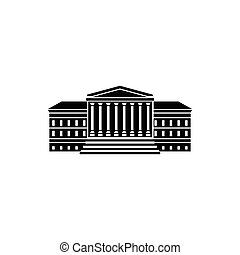 Government building with columns icon in simple style on a...