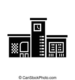 Public building with a clock icon in simple style