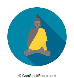 Buddha statue icon in flat style - icon in flat style on a...