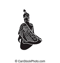Buddha statue icon, simple style - icon in simple style on a...