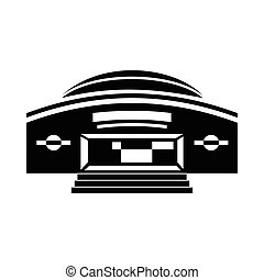 Round building icon in simple style on a white background