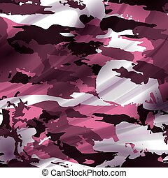 Drapery pink camouflage fabric textile background