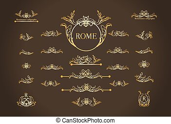 Vector set of italian calligraphic design elements for page...