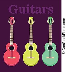 set of a classical acoustic guitars. Isolated silhouette classic guitars. Musical string instruments. Vector illustration in flat style.