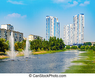 Fountains in Kiev District Rusanovka fountains panorama....