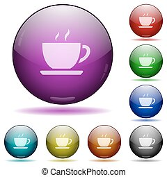 Coffee glass sphere buttons - Set of color Coffee glass...