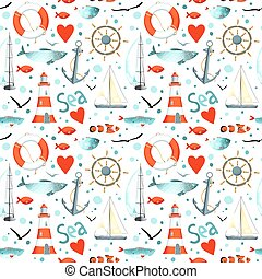 Vector sea pattern with nautical elements