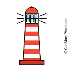 lighthouse tower guide icon vector isolated graphic
