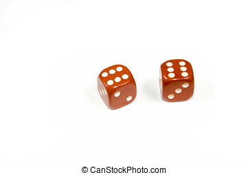 Two red dice double six on white background the probability...