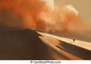 sandstorm in desert and hiking man,illustration,digital...