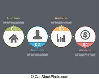 Process Chart - Process chart template with circles,...