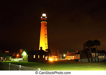 Historic Ponce Inlet Lighthouse at Night, New Smyrna Beach,...