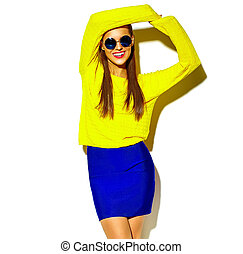 portrait of cheerful fashion hipster girl going crazy in...