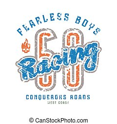 Racing emblem in retro style Color print on white background...