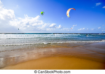 Kite surfing in the mediterranean sea
