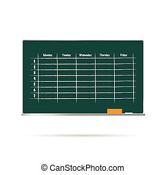school timetable on blackboard with sponge and chalk illustration