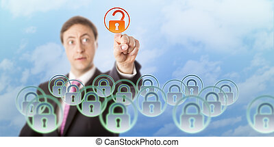 Manager Looking At And Opening A Padlock Icon - Manager is...