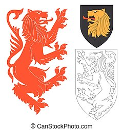 Red Lion Illustration For Heraldry Or Tattoo Design Isolated...