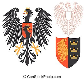 Black Eagle Illustration For Heraldry Or Tattoo Design...