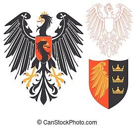 Black Eagle Illustration For Heraldry Or Tattoo Design...