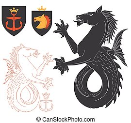 Black Hippocampus Illustration For Heraldry Or Tattoo Design...