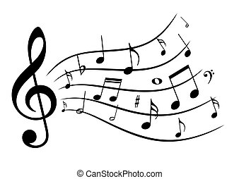 Music notes. - A symbol with stylized music notes.
