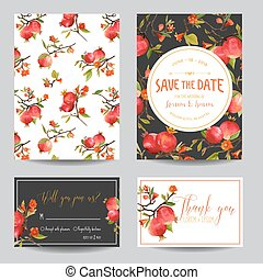 Save the Date Card. Tropical Pomegranates, Flowers and...