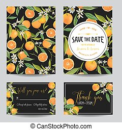 Save the Date Card Orange, Leaves and Flowers Wedding Card...