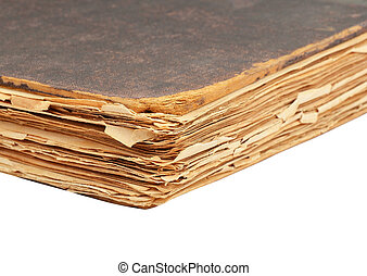 Antique book - Dirty antique book, isolated on white...