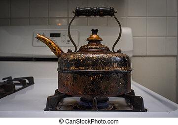 Antique Vintage Tea Pot - Antique old rusty tea pot on...