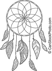 Hand drawn monochrome Dreamcatcher isolated on white...