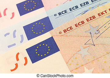 Euro banknotes close up