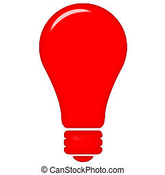 3D Red Light - 3d red light isolated in white