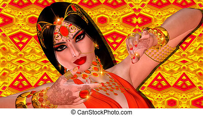 Indian or Asian fantasy woman - Abstract digital art of...