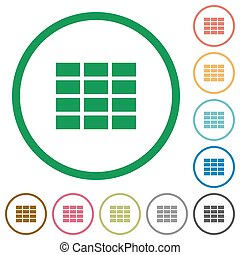 Spreadsheet outlined flat icons - Set of Spreadsheet color...