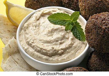 Hummus and Falafel - Delicious chick-pea hummus with falafel...