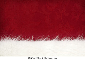 Fur over Red - Border of white fur over festive red brocade....