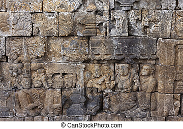 Refurbished sculptures at Borobudur - Refurbished sculptures...